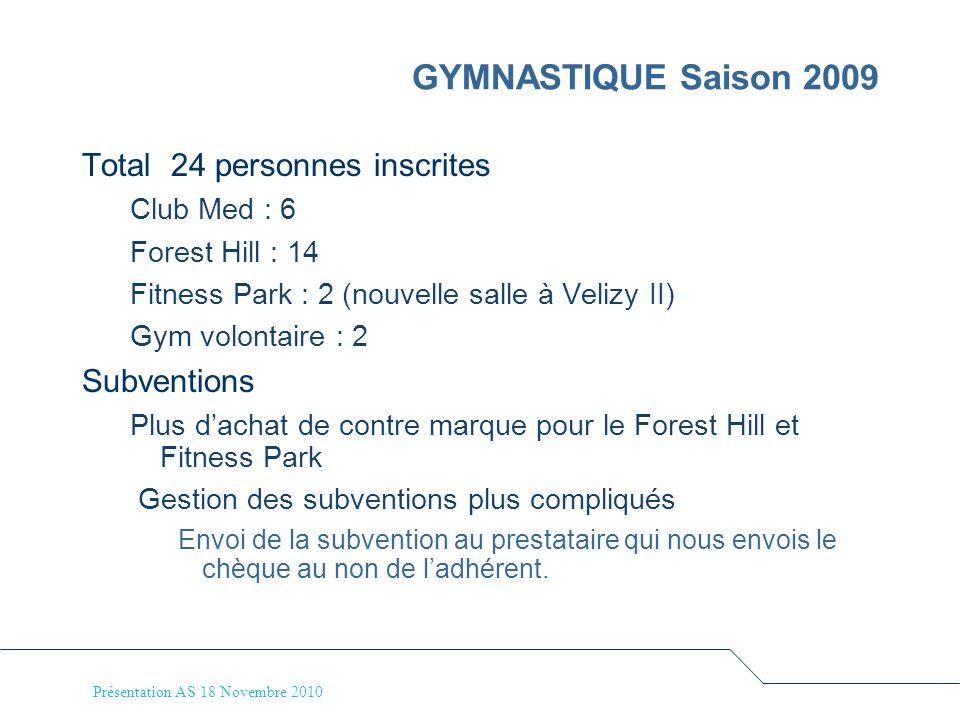 Présentation AS 18 Novembre 2010 GYMNASTIQUE Saison 2009 Total 24 personnes inscrites Club Med : 6 Forest Hill : 14 Fitness Park : 2 (nouvelle salle à