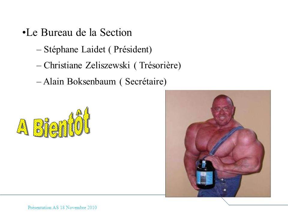 Présentation AS 18 Novembre 2010 Le Bureau de la Section – Stéphane Laidet ( Président) – Christiane Zeliszewski ( Trésorière) – Alain Boksenbaum ( Se