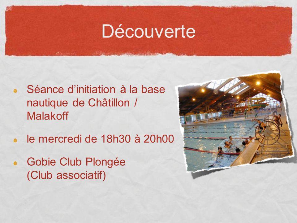 Découverte Séance dinitiation à la base nautique de Châtillon / Malakoff le mercredi de 18h30 à 20h00 Gobie Club Plongée (Club associatif)