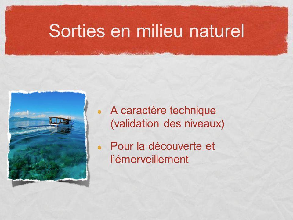 Sorties en milieu naturel A caractère technique (validation des niveaux) Pour la découverte et lémerveillement