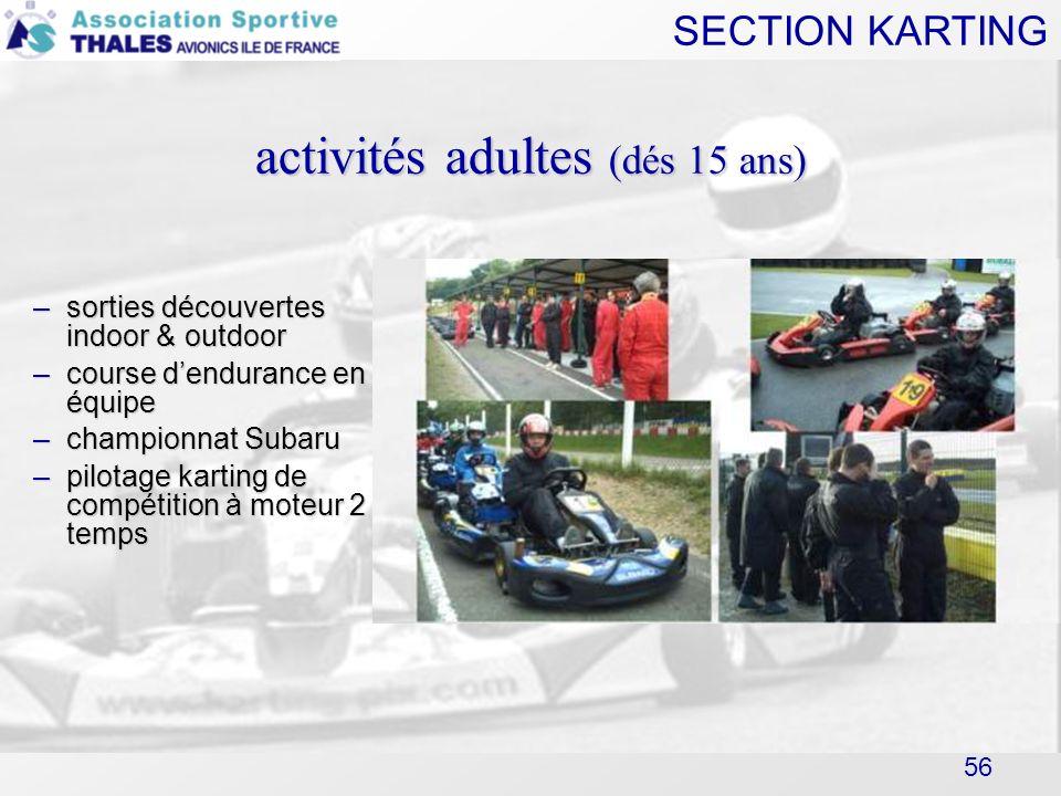 SECTION KARTING 56 activités adultes (dés 15 ans) –sorties découvertes indoor & outdoor –course dendurance en équipe –championnat Subaru –pilotage kar