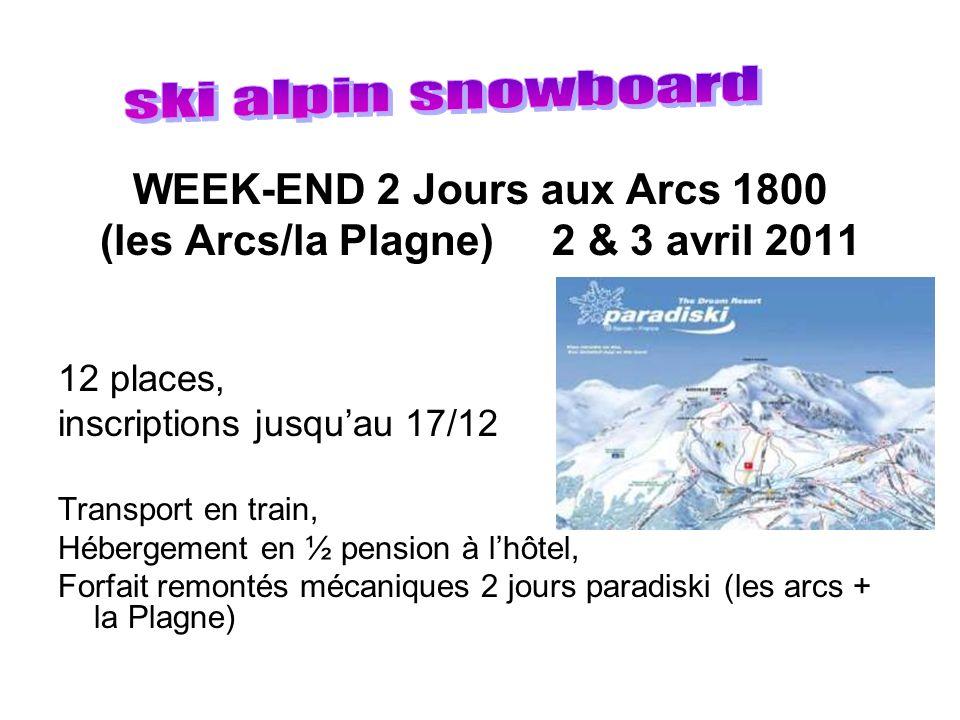 WEEK-END 2 Jours aux Arcs 1800 (les Arcs/la Plagne) 2 & 3 avril 2011 12 places, inscriptions jusquau 17/12 Transport en train, Hébergement en ½ pensio