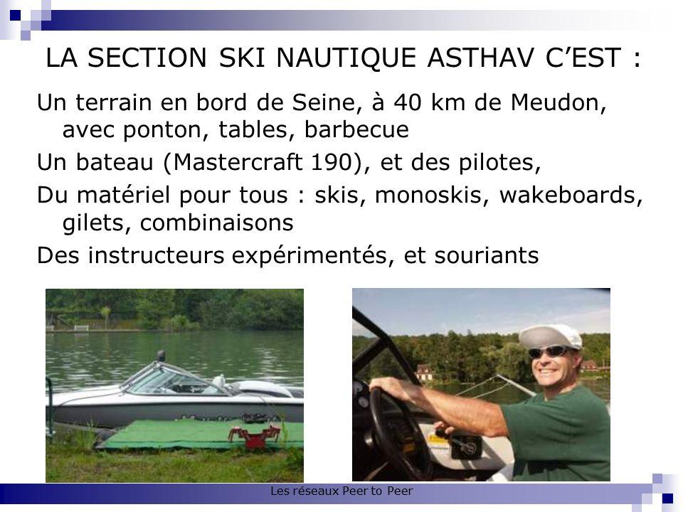 Les réseaux Peer to Peer LA SECTION SKI NAUTIQUE ASTHAV CEST : Un terrain en bord de Seine, à 40 km de Meudon, avec ponton, tables, barbecue Un bateau