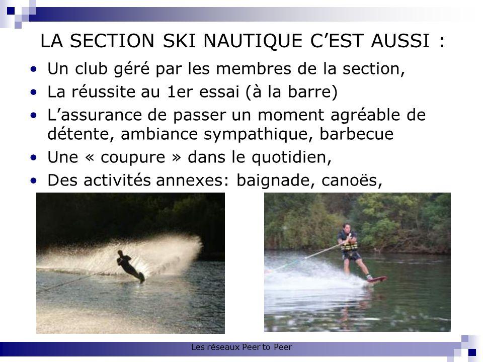 LA SECTION SKI NAUTIQUE CEST AUSSI : Un club géré par les membres de la section, La réussite au 1er essai (à la barre) Lassurance de passer un moment