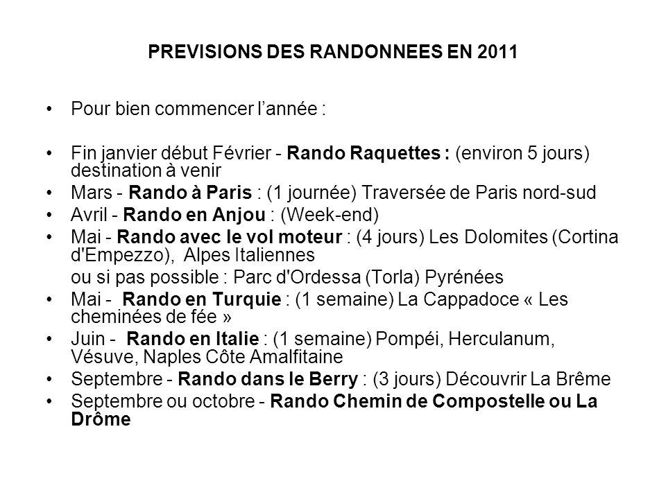 PREVISIONS DES RANDONNEES EN 2011 Pour bien commencer lannée : Fin janvier début Février - Rando Raquettes : (environ 5 jours) destination à venir Mar