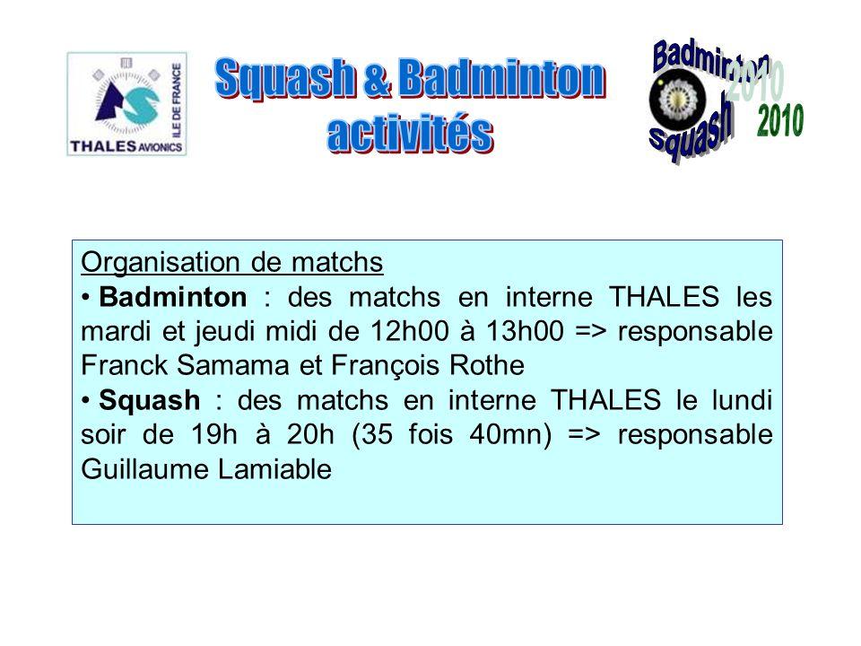 Organisation de matchs Badminton : des matchs en interne THALES les mardi et jeudi midi de 12h00 à 13h00 => responsable Franck Samama et François Roth