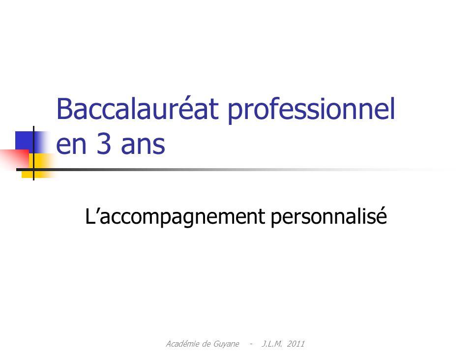 Baccalauréat professionnel en 3 ans Laccompagnement personnalisé Académie de Guyane - J.L.M. 2011