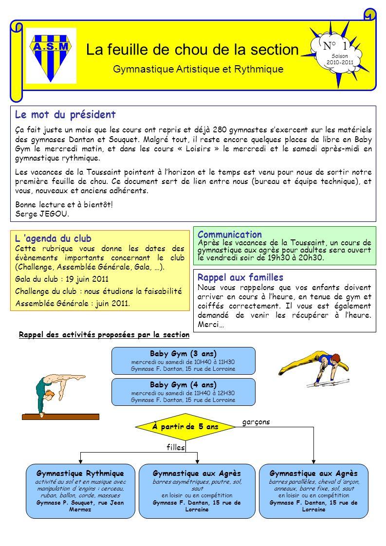 La feuille de chou de la section Gymnastique Artistique et Rythmique N° 1 Saison 2010-2011 Le mot du président Ça fait juste un mois que les cours ont
