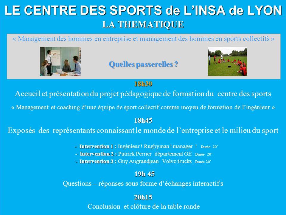 LE CENTRE DES SPORTS de LINSA de LYON LA THEMATIQUE 18h30 Accueil et présentation du projet pédagogique de formation du centre des sports « Management