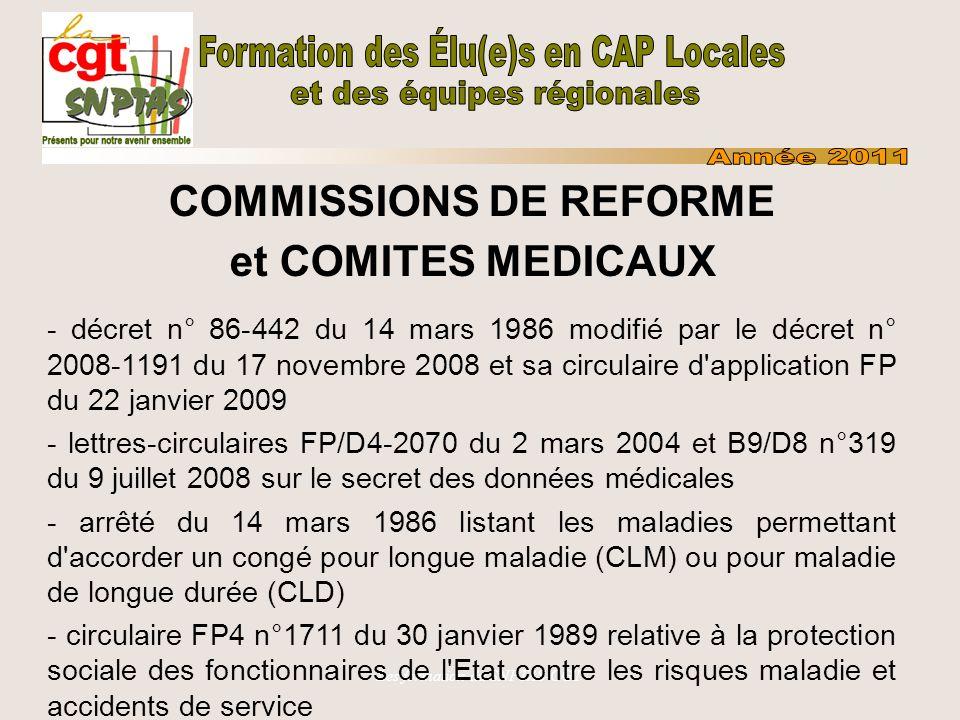 Les formation du SNPTAS-CGT COMMISSIONS DE REFORME et COMITES MEDICAUX - décret n° 86-442 du 14 mars 1986 modifié par le décret n° 2008-1191 du 17 nov