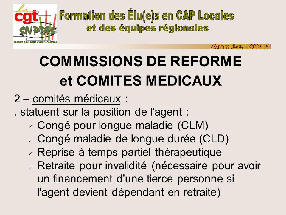 COMMISSIONS DE REFORME et COMITES MEDICAUX 2 – comités médicaux :. statuent sur la position de l'agent : Congé pour longue maladie (CLM) Congé maladie