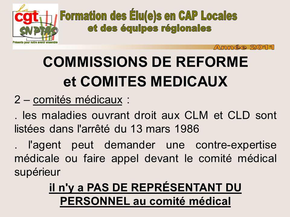 COMMISSIONS DE REFORME et COMITES MEDICAUX 2 – comités médicaux :. les maladies ouvrant droit aux CLM et CLD sont listées dans l'arrêté du 13 mars 198