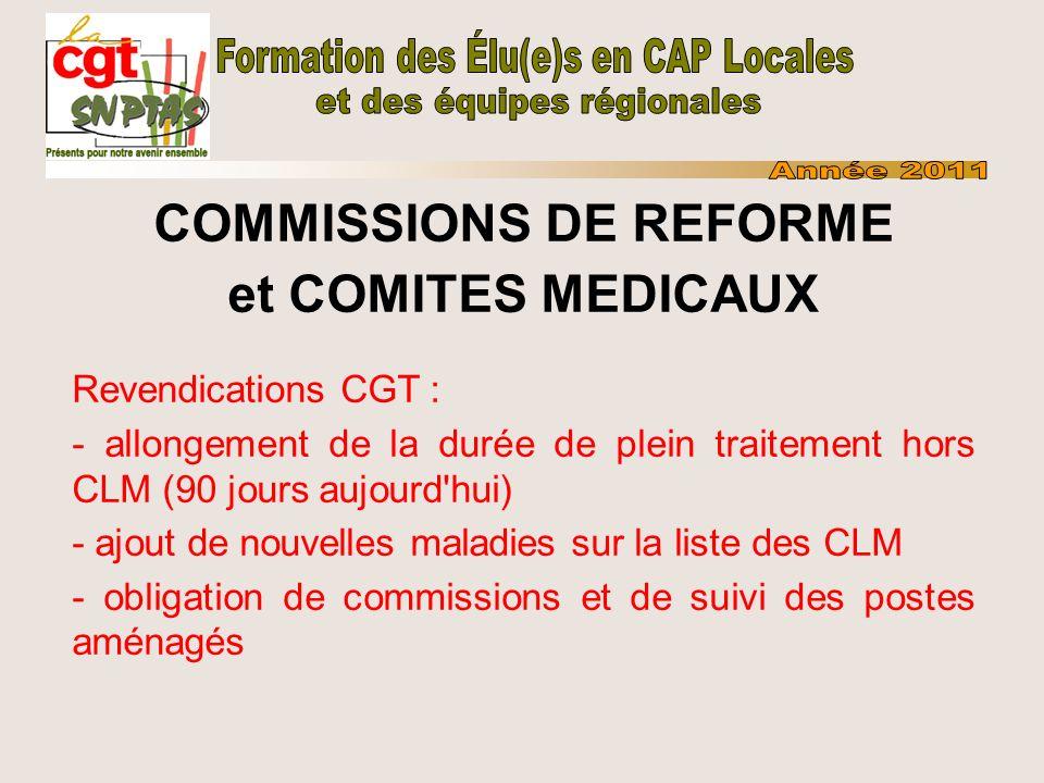 COMMISSIONS DE REFORME et COMITES MEDICAUX Revendications CGT : - allongement de la durée de plein traitement hors CLM (90 jours aujourd'hui) - ajout