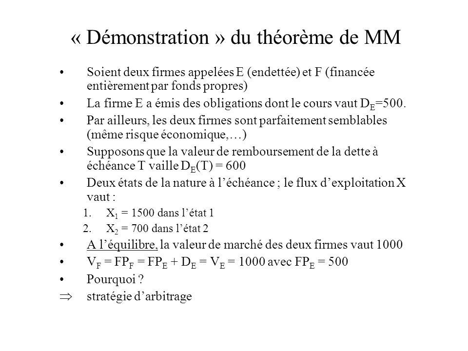 « Démonstration » du théorème de MM Soient deux firmes appelées E (endettée) et F (financée entièrement par fonds propres) La firme E a émis des oblig