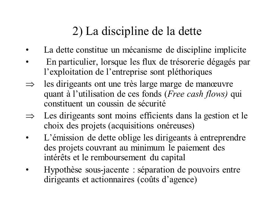 2) La discipline de la dette La dette constitue un mécanisme de discipline implicite En particulier, lorsque les flux de trésorerie dégagés par lexplo
