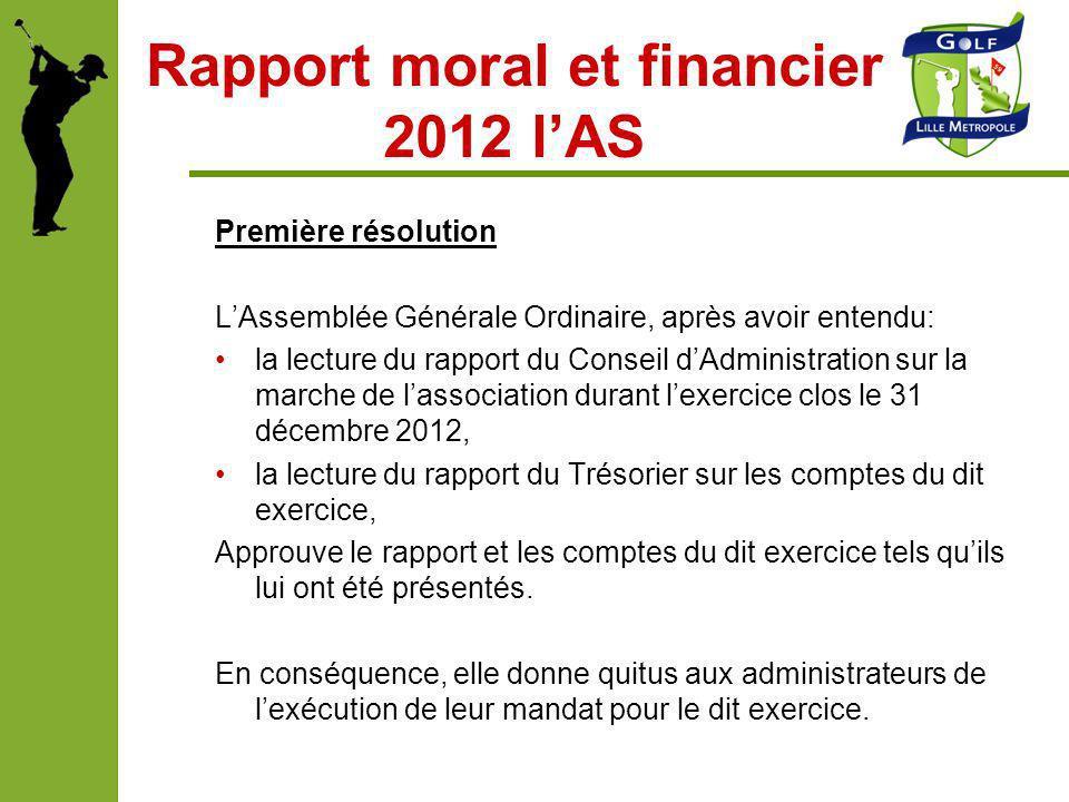 Rapport moral et financier 2012 lAS Première résolution LAssemblée Générale Ordinaire, après avoir entendu: la lecture du rapport du Conseil dAdminist