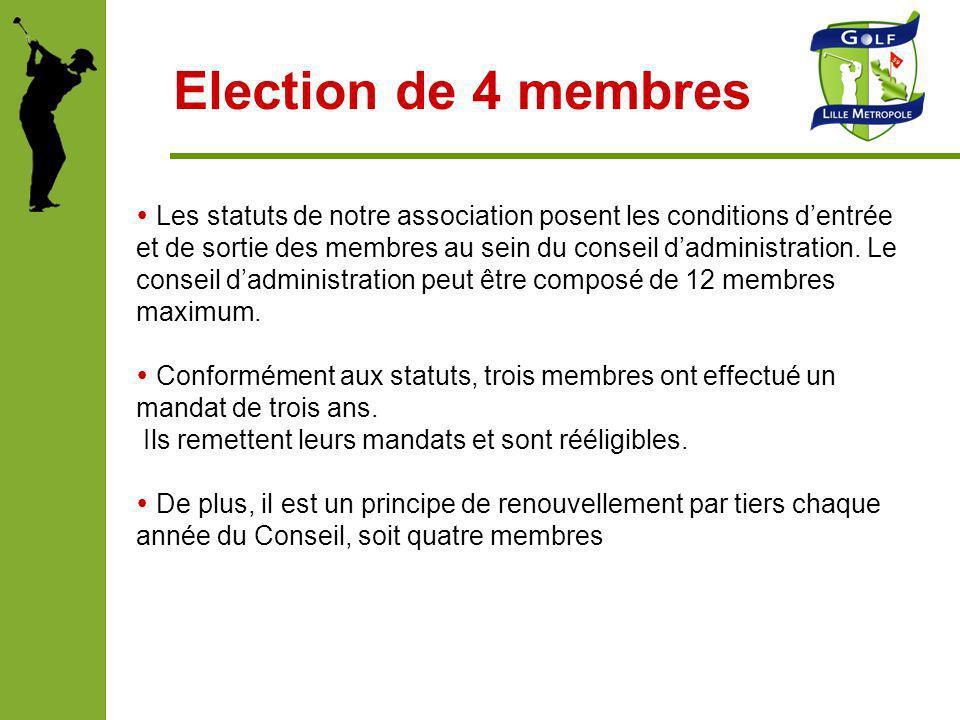Election de 4 membres Les statuts de notre association posent les conditions dentrée et de sortie des membres au sein du conseil dadministration. Le c