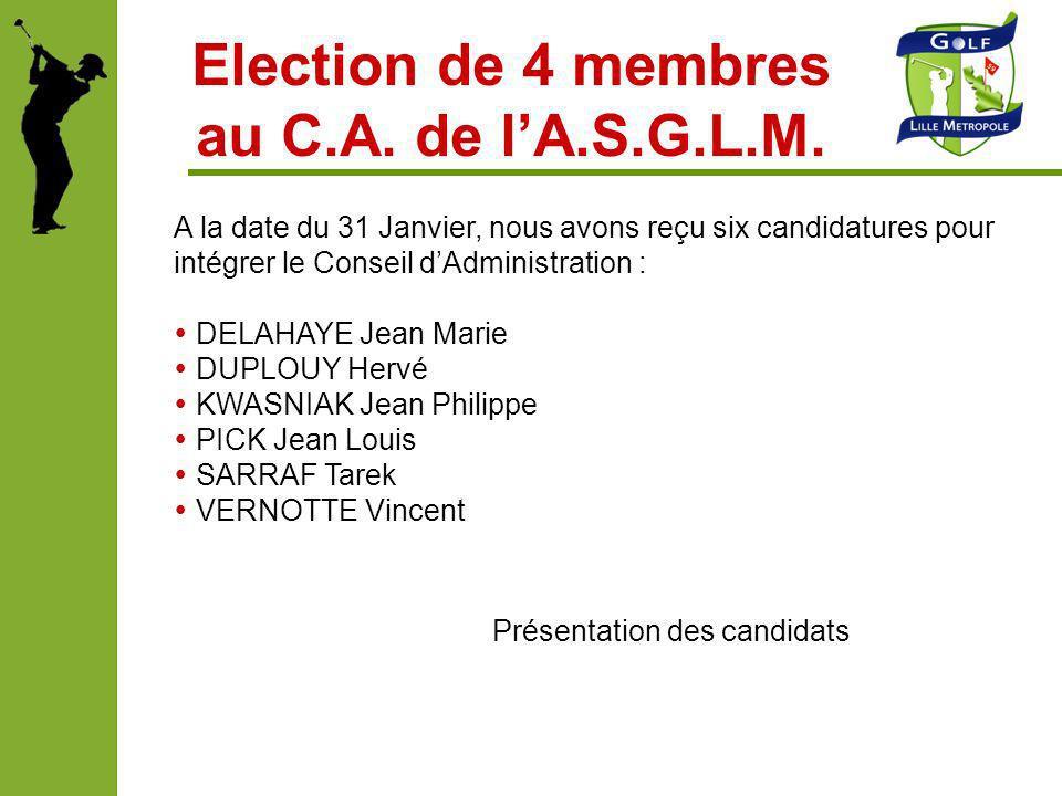 Election de 4 membres au C.A. de lA.S.G.L.M. A la date du 31 Janvier, nous avons reçu six candidatures pour intégrer le Conseil dAdministration : DELA