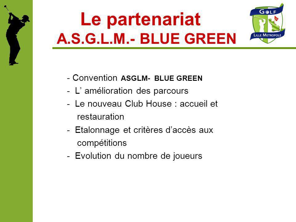 Le partenariat A.S.G.L.M.- BLUE GREEN - Convention ASGLM- BLUE GREEN - L amélioration des parcours - Le nouveau Club House : accueil et restauration -