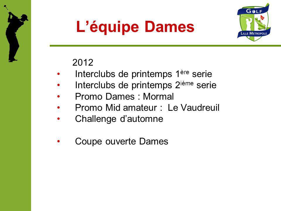 Léquipe Dames 2012 Interclubs de printemps 1 ère serie Interclubs de printemps 2 ième serie Promo Dames : Mormal Promo Mid amateur : Le Vaudreuil Chal