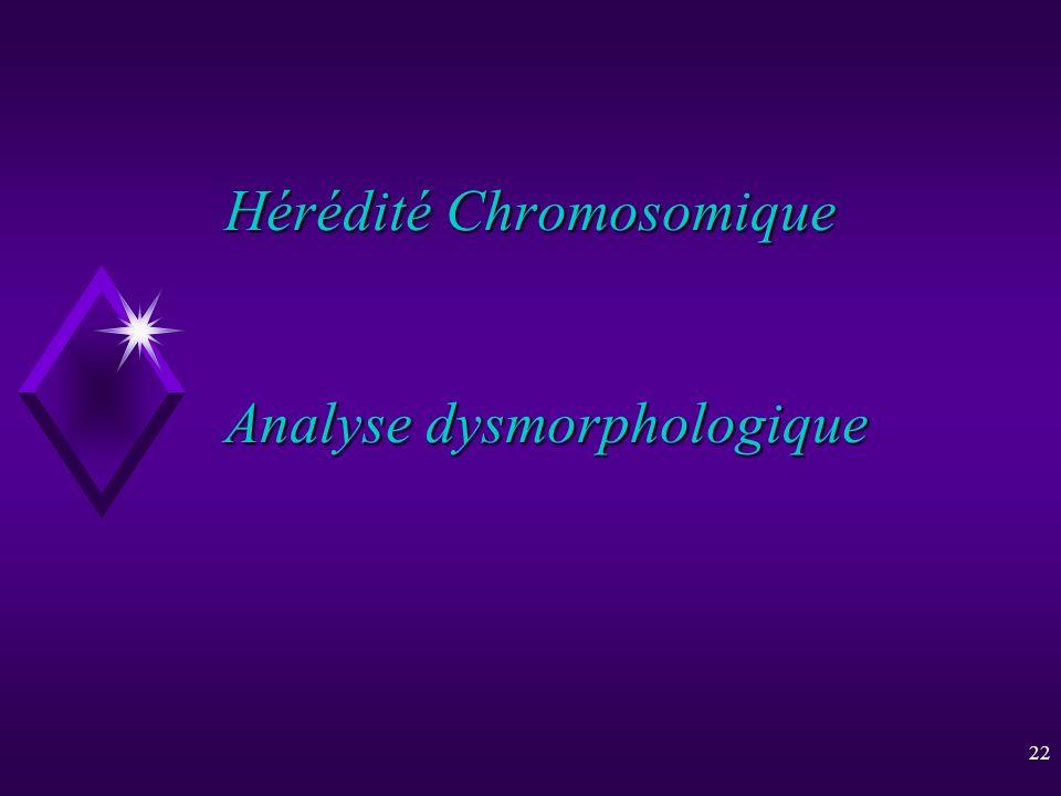 22 Hérédité Chromosomique Analyse dysmorphologique