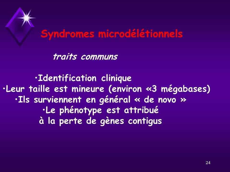 24 Syndromes microdélétionnels traits communs Identification clinique Leur taille est mineure (environ «3 mégabases) Ils surviennent en général « de n