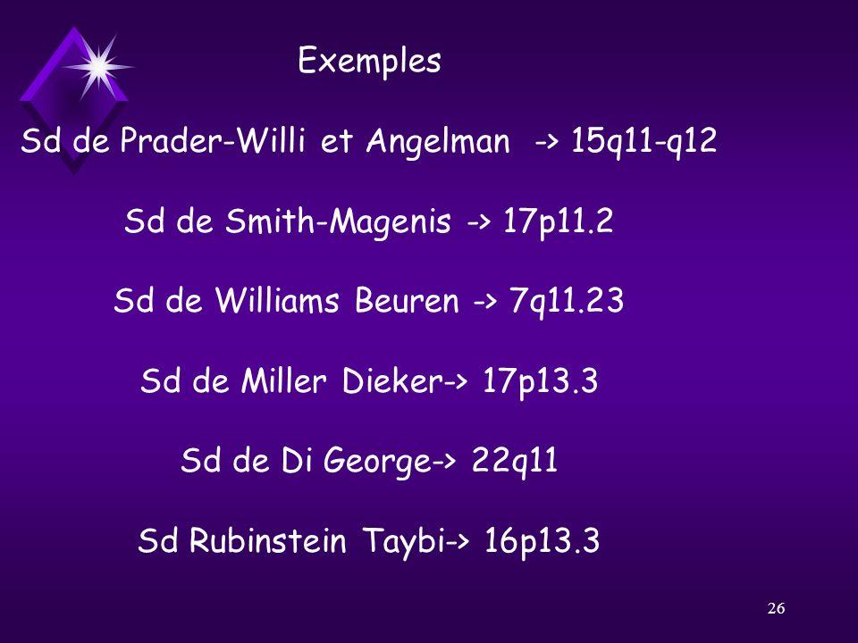 26 Exemples Sd de Prader-Willi et Angelman-> 15q11-q12 Sd de Smith-Magenis -> 17p11.2 Sd de Williams Beuren -> 7q11.23 Sd de Miller Dieker-> 17p13.3 S