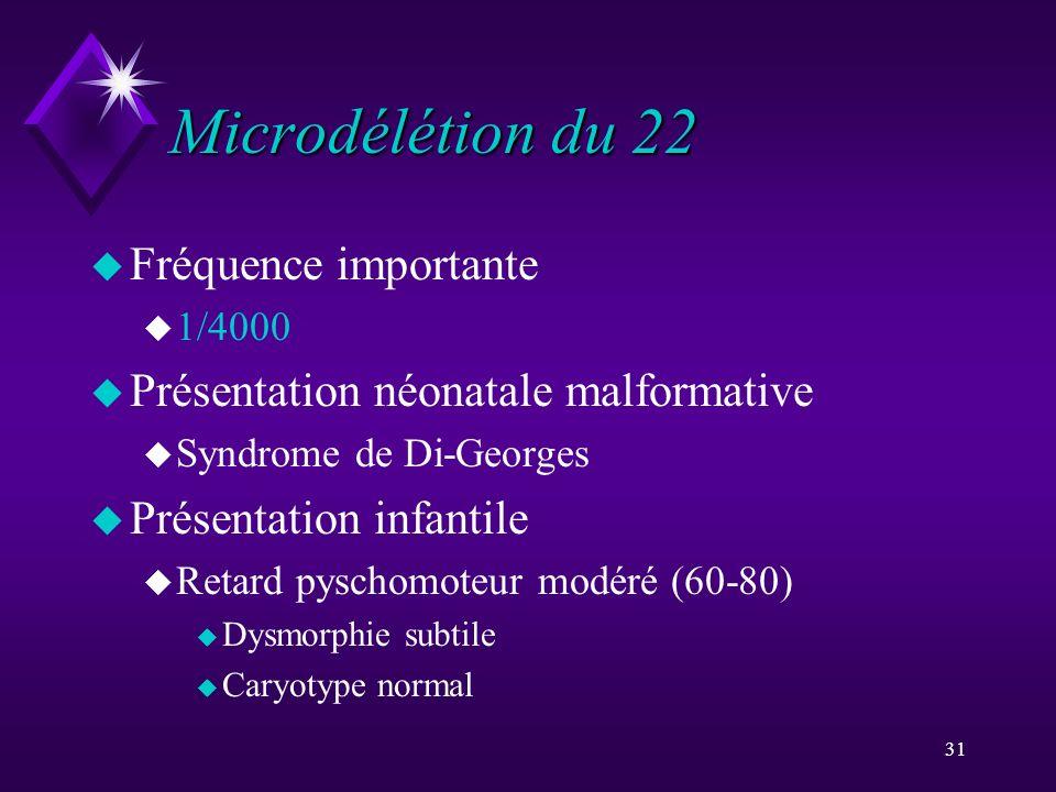31 Microdélétion du 22 u Fréquence importante u 1/4000 u Présentation néonatale malformative u Syndrome de Di-Georges u Présentation infantile u Retar