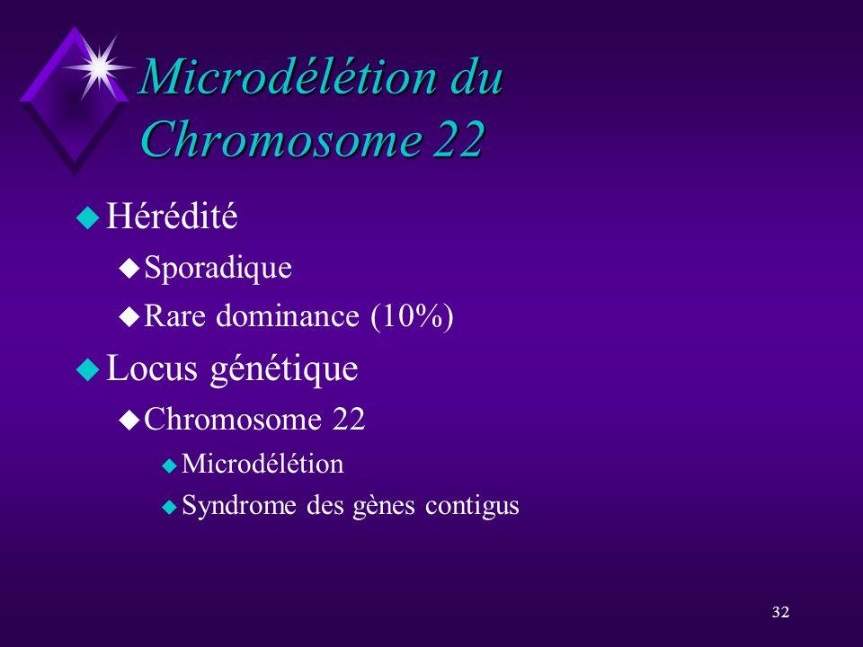 32 Microdélétion du Chromosome 22 u Hérédité u Sporadique u Rare dominance (10%) u Locus génétique u Chromosome 22 u Microdélétion u Syndrome des gène
