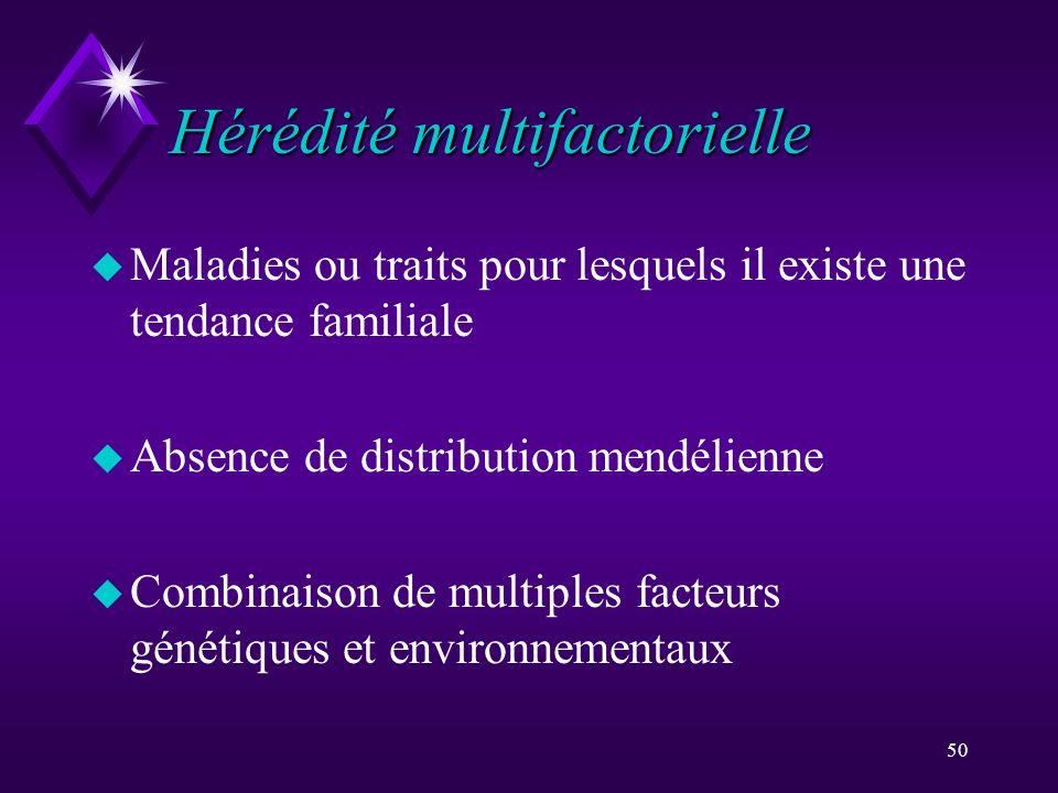 50 Hérédité multifactorielle u Maladies ou traits pour lesquels il existe une tendance familiale u Absence de distribution mendélienne u Combinaison d