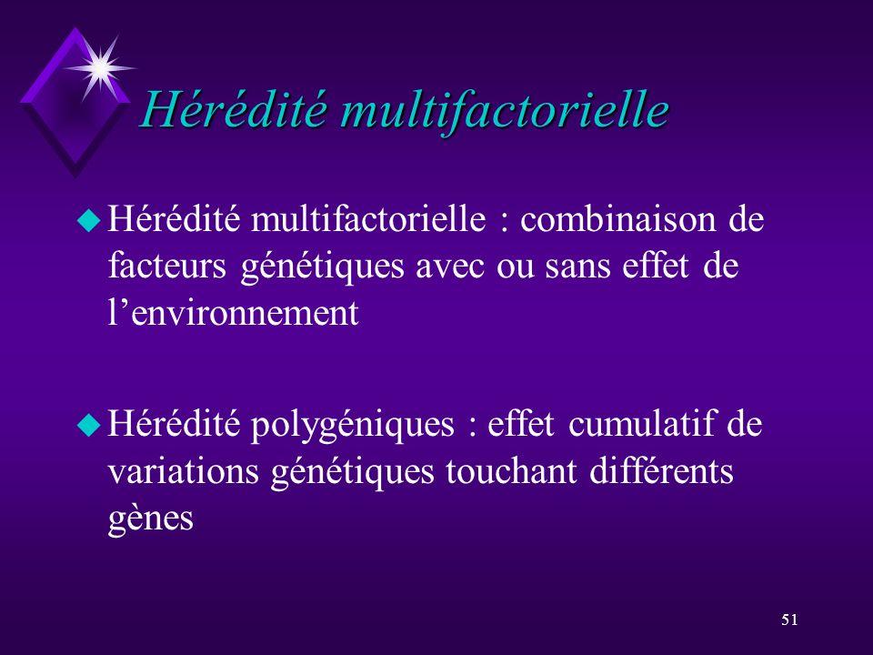 51 Hérédité multifactorielle u Hérédité multifactorielle : combinaison de facteurs génétiques avec ou sans effet de lenvironnement u Hérédité polygéni