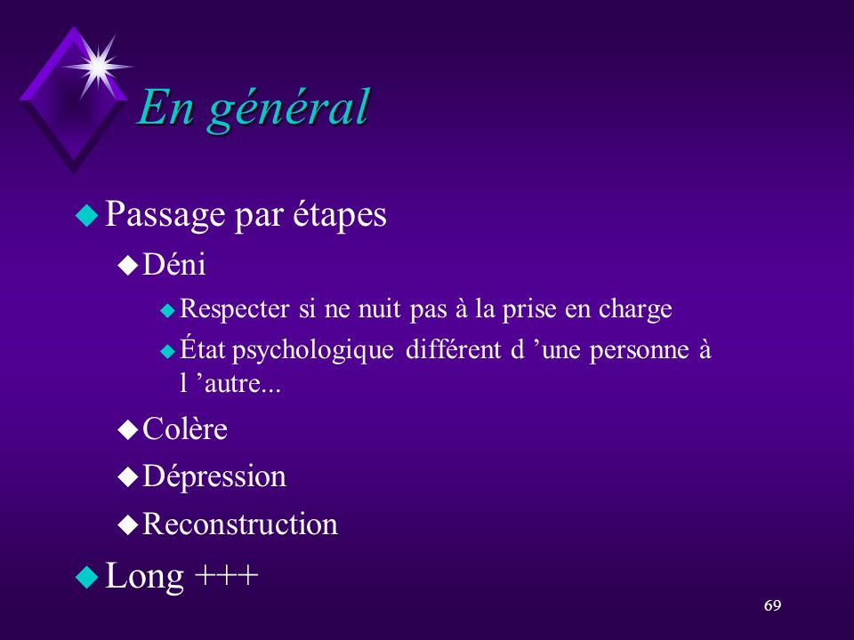 69 En général u Passage par étapes u Déni u Respecter si ne nuit pas à la prise en charge u État psychologique différent d une personne à l autre... u