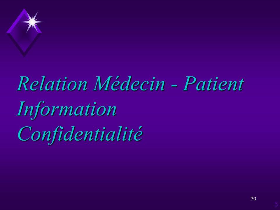 70 Relation Médecin - Patient Information Confidentialité 5