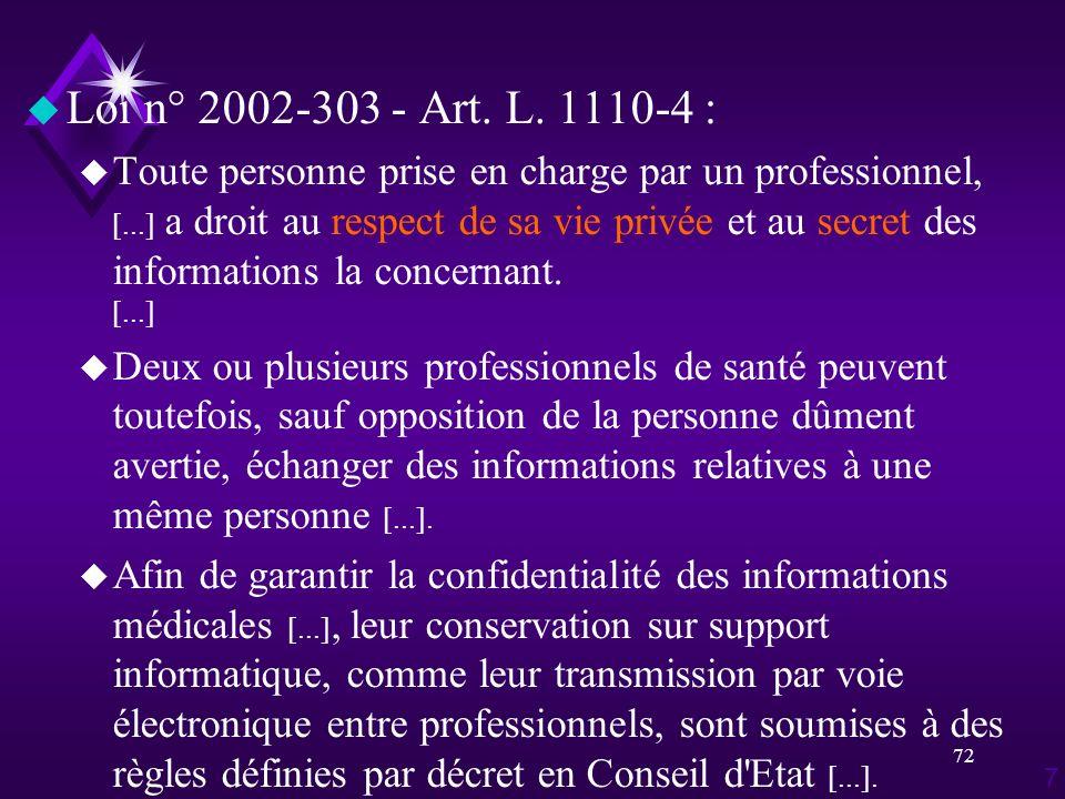 72 u Loi n° 2002-303 - Art. L. 1110-4 : u Toute personne prise en charge par un professionnel, [...] a droit au respect de sa vie privée et au secret