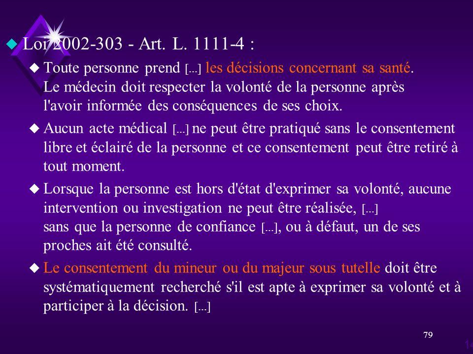 79 u Loi 2002-303 - Art. L. 1111-4 : u Toute personne prend [...] les décisions concernant sa santé. Le médecin doit respecter la volonté de la person