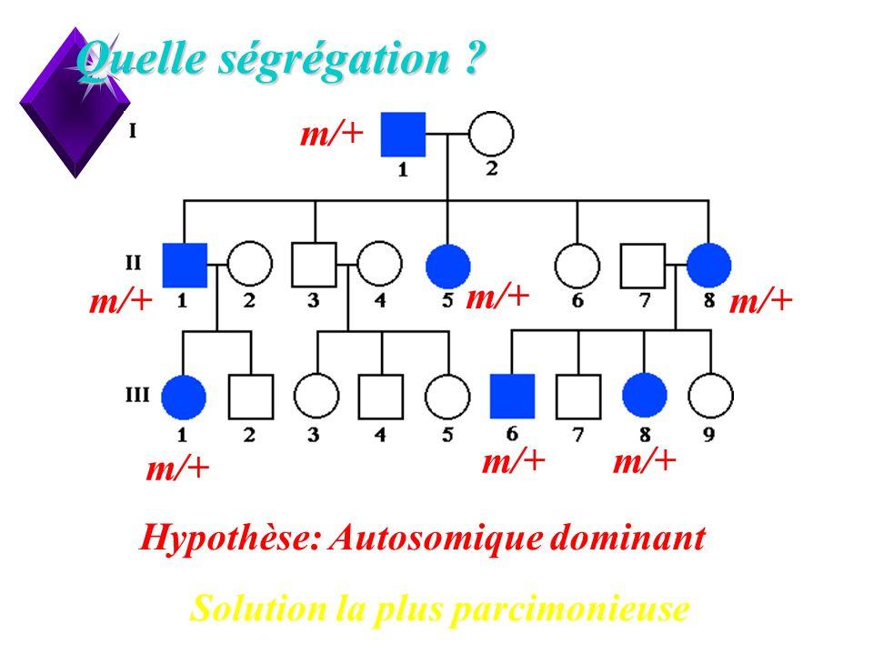 9 Quelle ségrégation ? Hypothèse: Autosomique dominant m/+ Solution la plus parcimonieuse