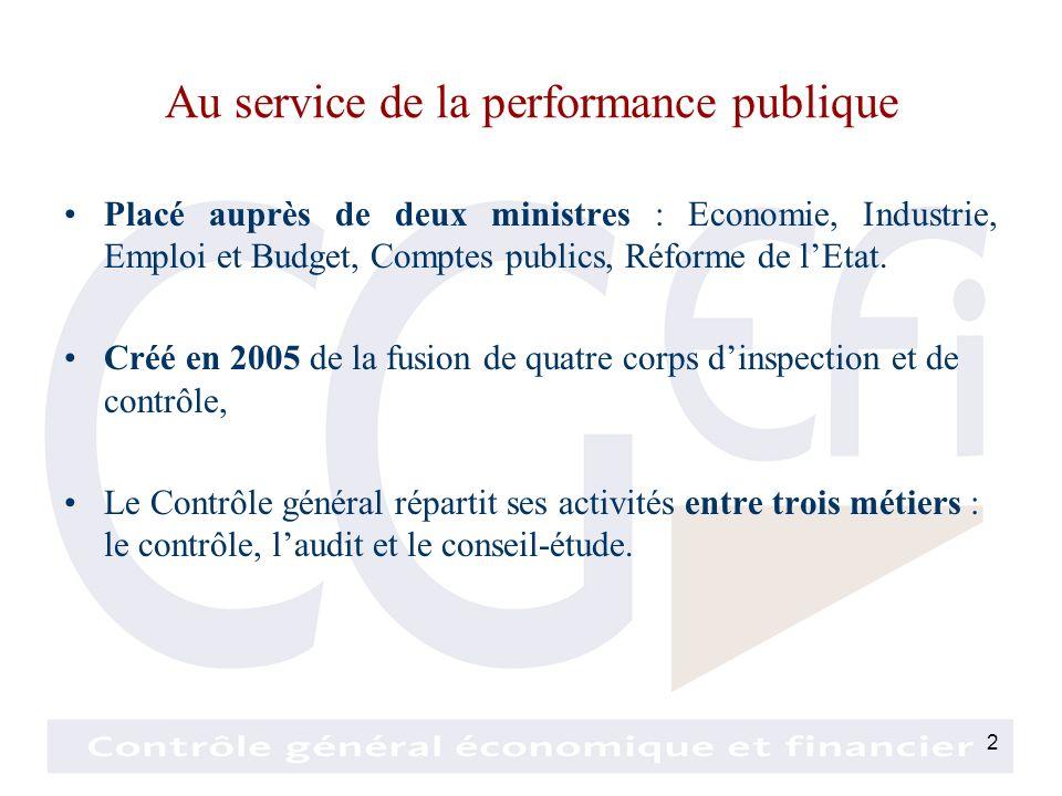 2 Au service de la performance publique Placé auprès de deux ministres : Economie, Industrie, Emploi et Budget, Comptes publics, Réforme de lEtat.