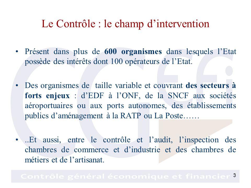 3 Le Contrôle : le champ dintervention Présent dans plus de 600 organismes dans lesquels lEtat possède des intérêts dont 100 opérateurs de lEtat.