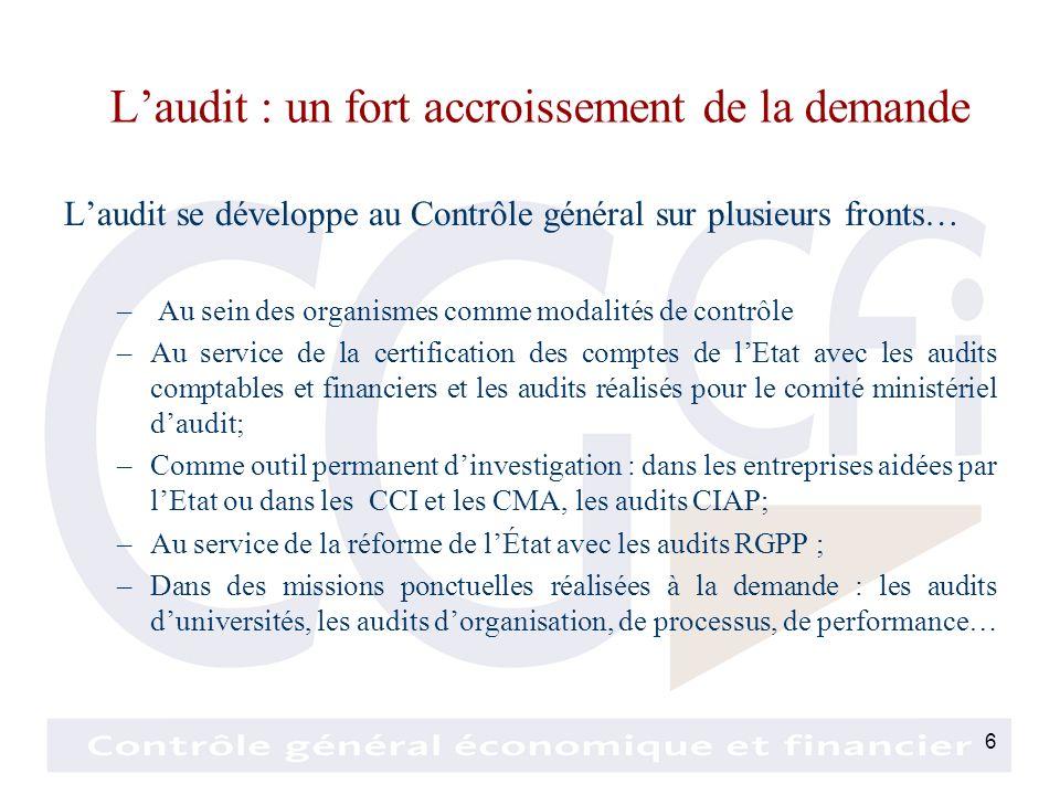 6 Laudit : un fort accroissement de la demande Laudit se développe au Contrôle général sur plusieurs fronts… – Au sein des organismes comme modalités de contrôle –Au service de la certification des comptes de lEtat avec les audits comptables et financiers et les audits réalisés pour le comité ministériel daudit; –Comme outil permanent dinvestigation : dans les entreprises aidées par lEtat ou dans les CCI et les CMA, les audits CIAP; –Au service de la réforme de lÉtat avec les audits RGPP ; –Dans des missions ponctuelles réalisées à la demande : les audits duniversités, les audits dorganisation, de processus, de performance…