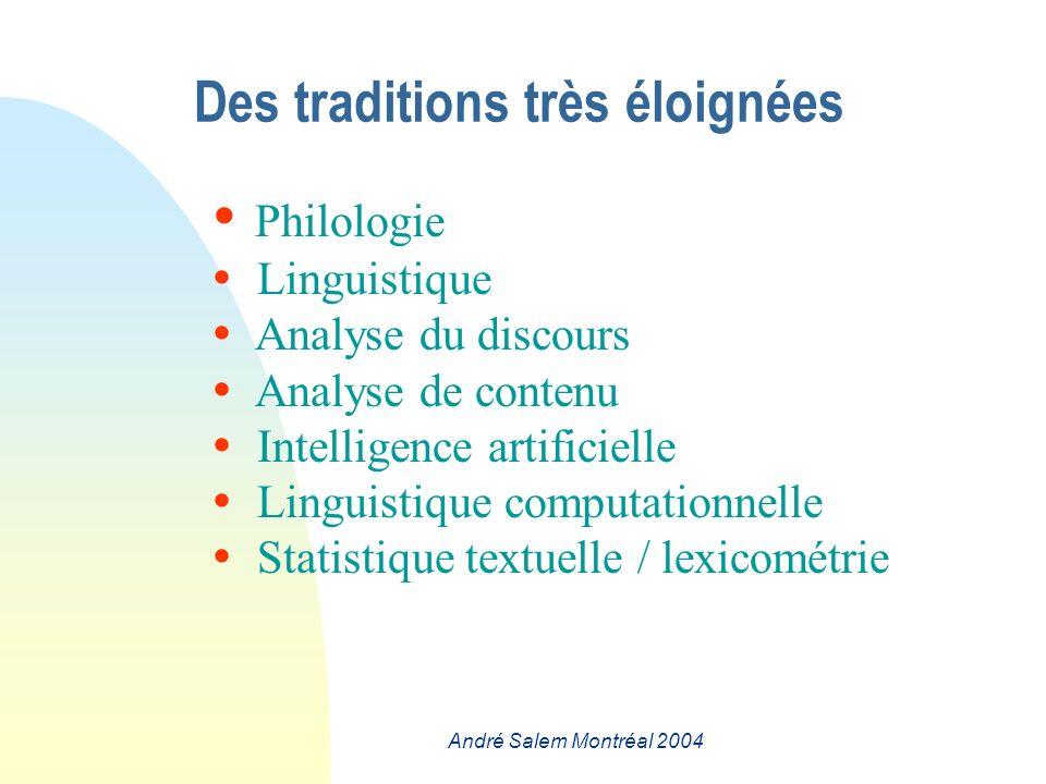 André Salem Montréal 2004 Des traditions très éloignées Philologie Linguistique Analyse du discours Analyse de contenu Intelligence artificielle Linguistique computationnelle Statistique textuelle / lexicométrie