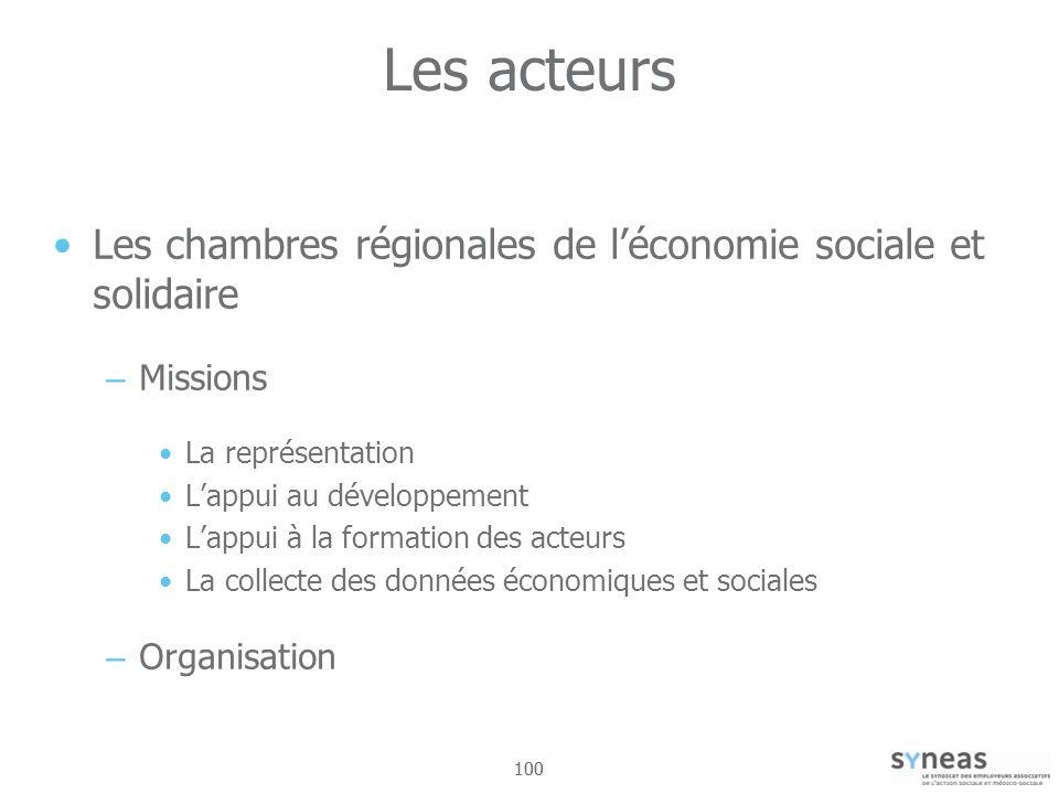 100 Les acteurs Les chambres régionales de léconomie sociale et solidaire – Missions La représentation Lappui au développement Lappui à la formation des acteurs La collecte des données économiques et sociales – Organisation