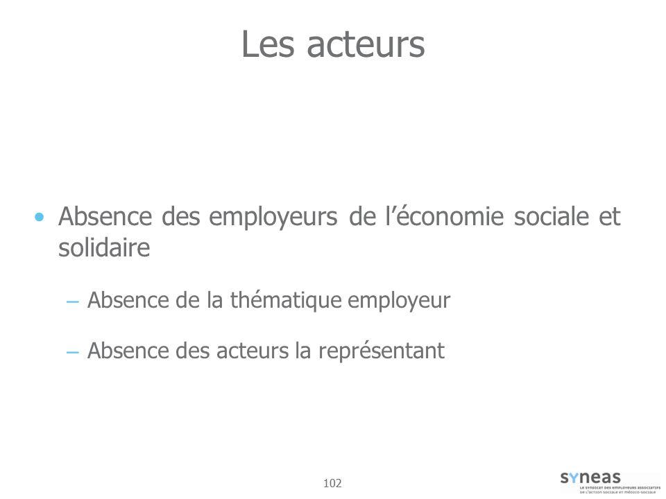 102 Les acteurs Absence des employeurs de léconomie sociale et solidaire – Absence de la thématique employeur – Absence des acteurs la représentant
