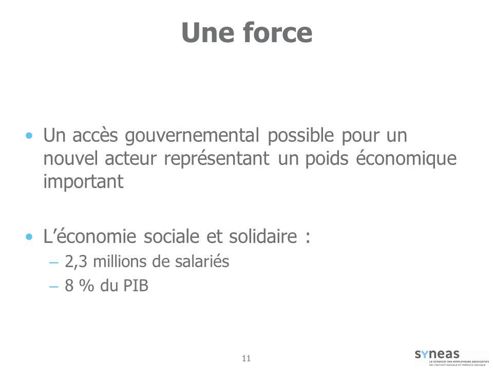 11 Une force Un accès gouvernemental possible pour un nouvel acteur représentant un poids économique important Léconomie sociale et solidaire : – 2,3 millions de salariés – 8 % du PIB