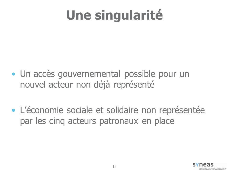 12 Une singularité Un accès gouvernemental possible pour un nouvel acteur non déjà représenté Léconomie sociale et solidaire non représentée par les cinq acteurs patronaux en place