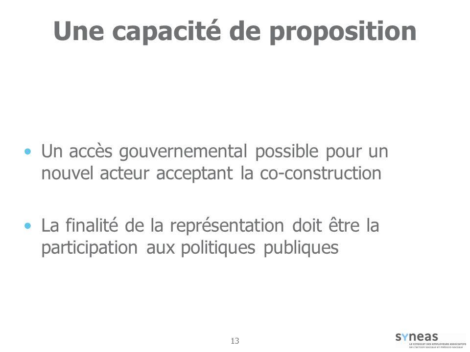13 Une capacité de proposition Un accès gouvernemental possible pour un nouvel acteur acceptant la co-construction La finalité de la représentation doit être la participation aux politiques publiques