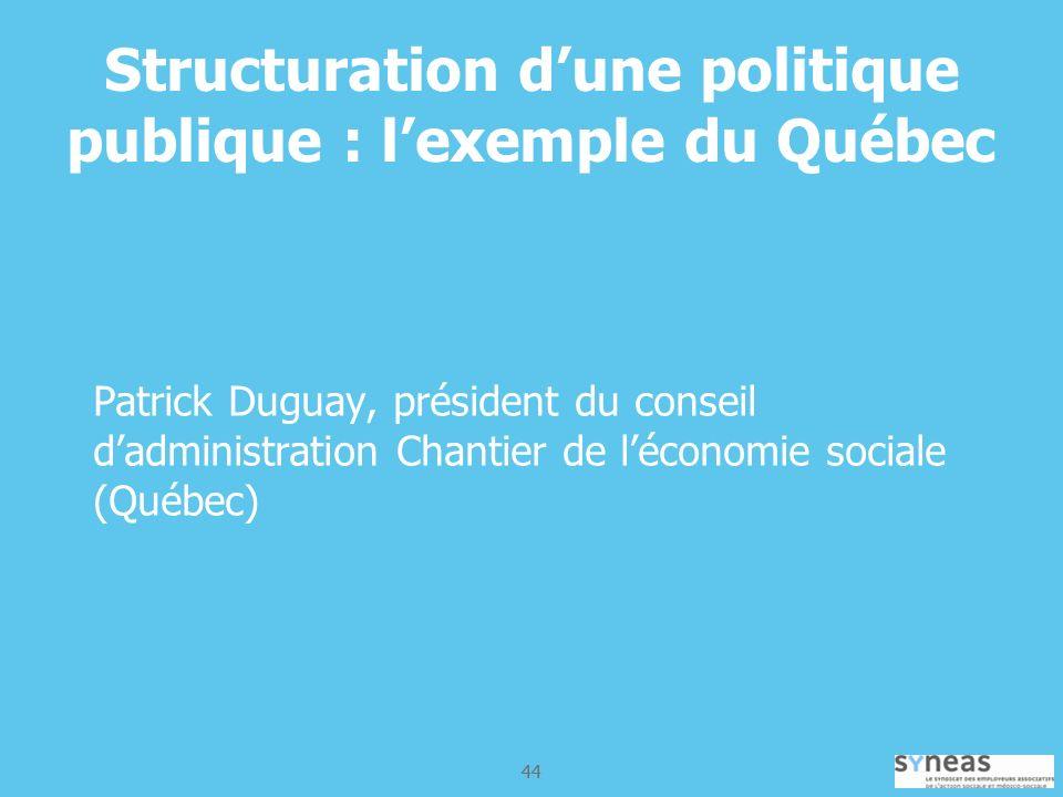 44 Structuration dune politique publique : lexemple du Québec Patrick Duguay, président du conseil dadministration Chantier de léconomie sociale (Québec)