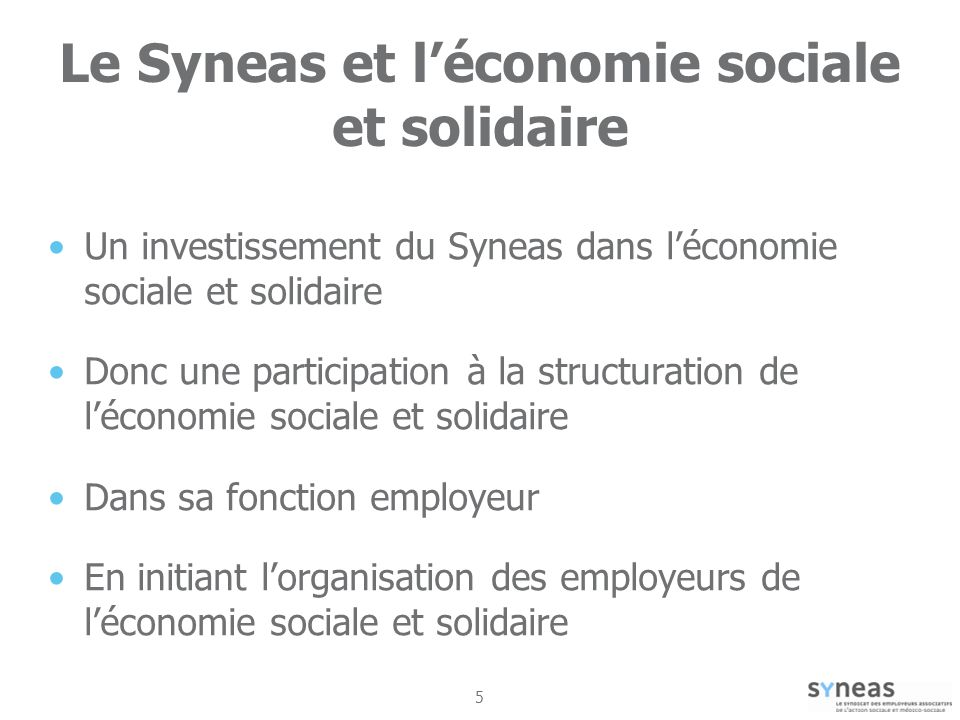 5 Le Syneas et léconomie sociale et solidaire Un investissement du Syneas dans léconomie sociale et solidaire Donc une participation à la structuration de léconomie sociale et solidaire Dans sa fonction employeur En initiant lorganisation des employeurs de léconomie sociale et solidaire