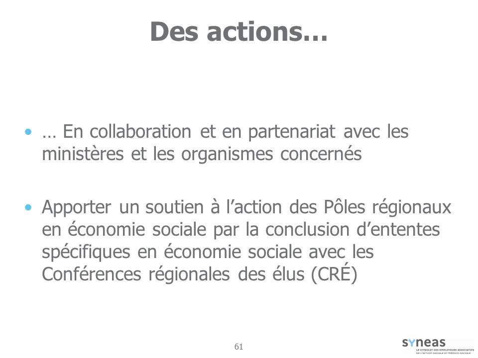 61 Des actions… … En collaboration et en partenariat avec les ministères et les organismes concernés Apporter un soutien à laction des Pôles régionaux en économie sociale par la conclusion dententes spécifiques en économie sociale avec les Conférences régionales des élus (CRÉ)