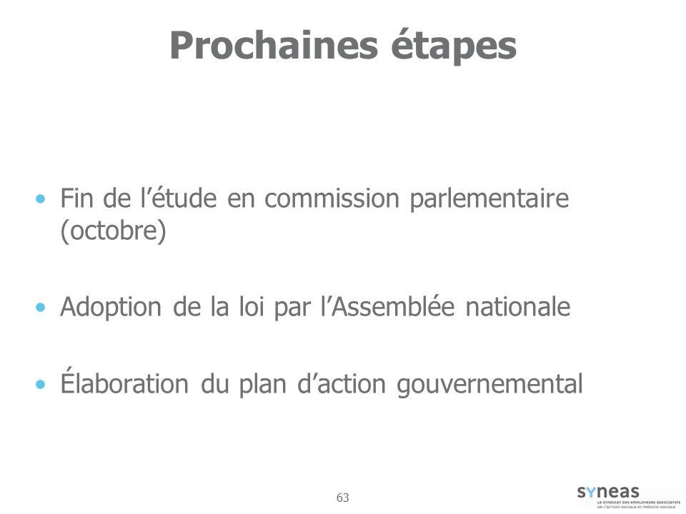 63 Prochaines étapes Fin de létude en commission parlementaire (octobre) Adoption de la loi par lAssemblée nationale Élaboration du plan daction gouvernemental