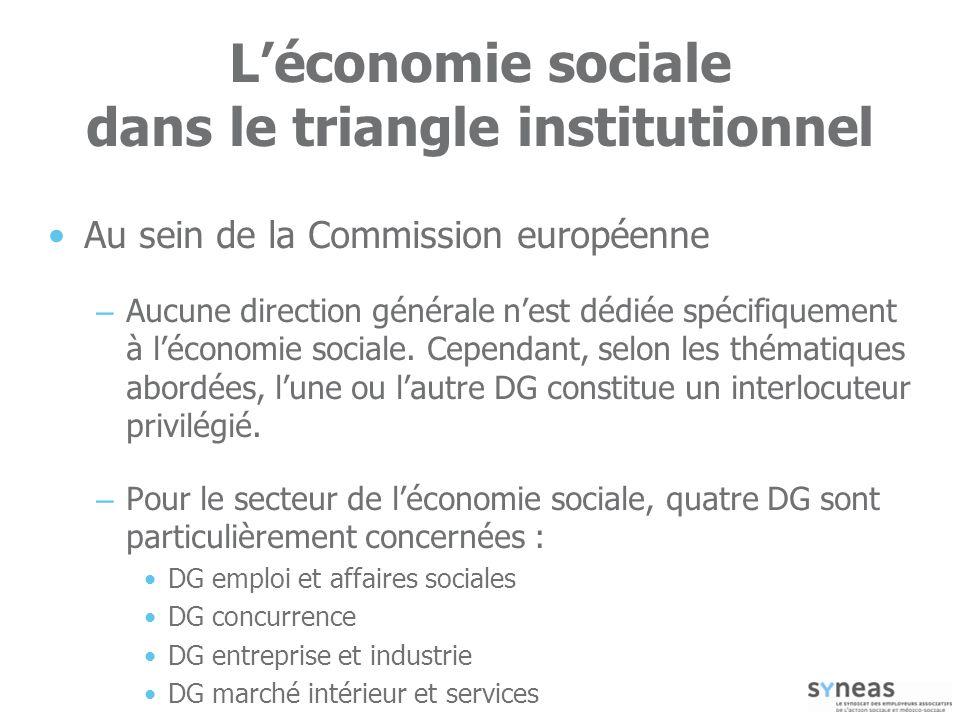 73 Léconomie sociale dans le triangle institutionnel Au sein de la Commission européenne – Aucune direction générale nest dédiée spécifiquement à léconomie sociale.